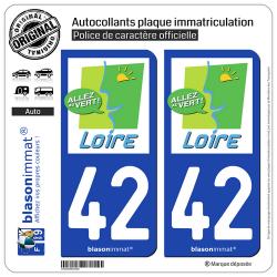 2 Autocollants plaque immatriculation Auto 42 Loire - Tourisme