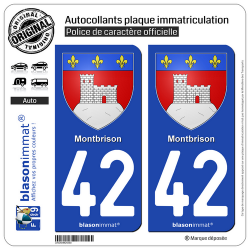 2 Autocollants plaque immatriculation Auto 42 Montbrison - Armoiries