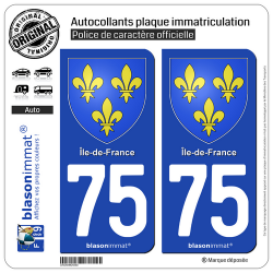 2 Autocollants plaque immatriculation Auto 75 Île-de-France - Armoiries