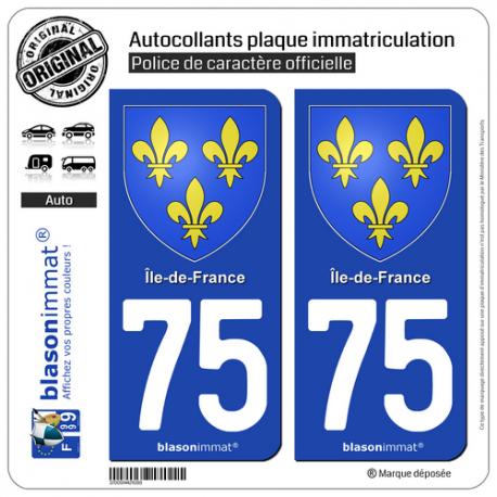 2 Autocollants plaque immatriculation Auto 75 Île-de-France - Armoiries