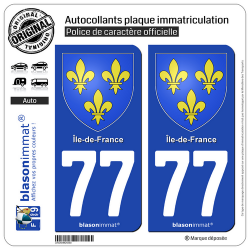 2 Autocollants plaque immatriculation Auto 77 Île-de-France - Armoiries