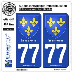 2 Autocollants plaque immatriculation Auto 77 Île-de-France - Armoiries