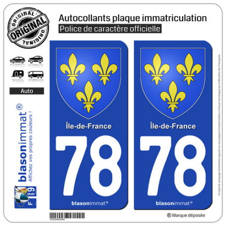 2 Autocollants plaque immatriculation Auto 78 Île-de-France - Armoiries