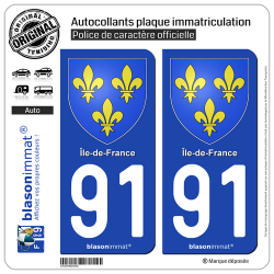 2 Autocollants plaque immatriculation Auto 91 Île-de-France - Armoiries