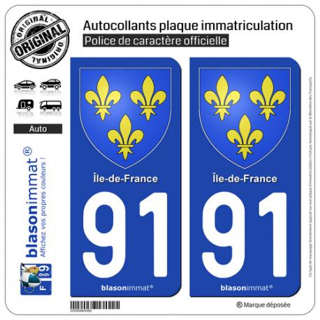 2 Autocollants plaque immatriculation Auto 91 Île-de-France - Armoiries