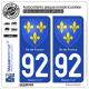 2 Autocollants plaque immatriculation Auto 92 Île-de-France - Armoiries
