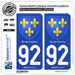2 Autocollants plaque immatriculation Auto 92 Île-de-France - Armoiries