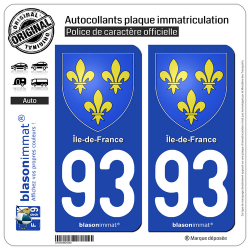 2 Autocollants plaque immatriculation Auto 93 Île-de-France - Armoiries
