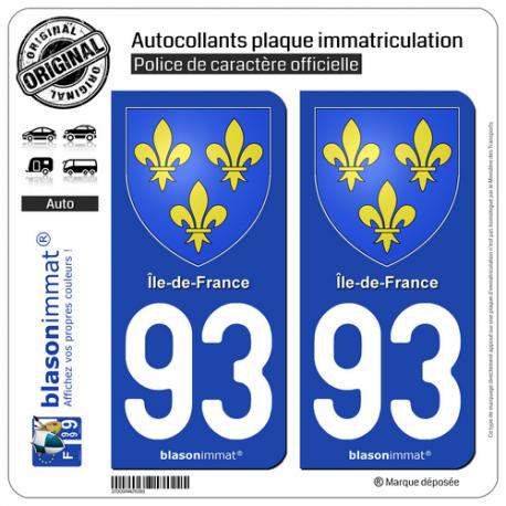 2 Autocollants plaque immatriculation Auto 93 Île-de-France - Armoiries
