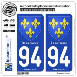 2 Autocollants plaque immatriculation Auto 94 Île-de-France - Armoiries