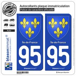 2 Autocollants plaque immatriculation Auto 95 Île-de-France - Armoiries