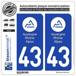 2 Autocollants plaque immatriculation Auto 43 Auvergne-Rhône-Alpes - LogoType