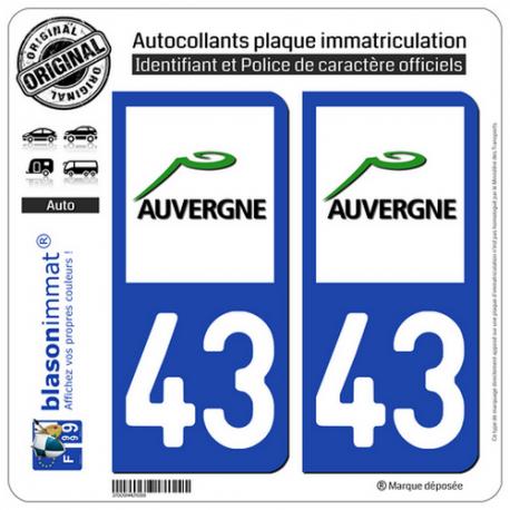 2 Autocollants plaque immatriculation Auto 43 Auvergne - LogoType