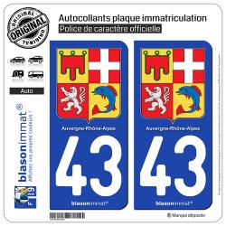 2 Autocollants plaque immatriculation Auto 43 Auvergne-Rhône-Alpes - Armoiries