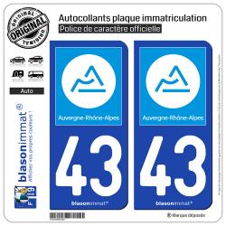 2 Autocollants plaque immatriculation Auto 43 Auvergne-Rhône-Alpes - Région