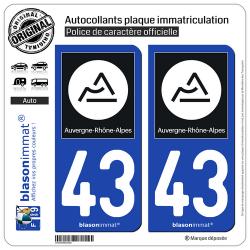 2 Autocollants plaque immatriculation Auto 43 Auvergne-Rhône-Alpes - Région II