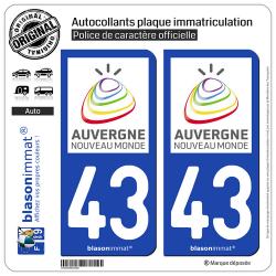 2 Autocollants plaque immatriculation Auto 43 Auvergne - Tourisme