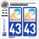 2 Autocollants plaque immatriculation Auto 43 Brioude - Ville
