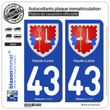 2 Autocollants plaque immatriculation Auto 43 Haute-Loire - Armoiries