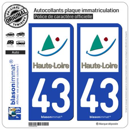 2 Autocollants plaque immatriculation Auto 43 Haute-Loire - Département