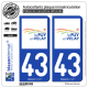 2 Autocollants plaque immatriculation Auto 43 Puy-en-Velay - Agglo