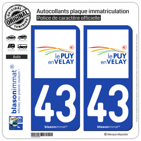 2 Autocollants plaque immatriculation Auto 43 Puy-en-Velay - Agglo