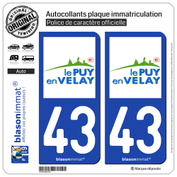 2 Autocollants plaque immatriculation Auto 43 Puy-en-Velay - Ville