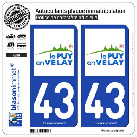 2 Autocollants plaque immatriculation Auto 43 Puy-en-Velay - Ville