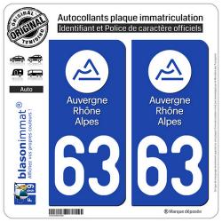 2 Autocollants plaque immatriculation Auto 63 Auvergne-Rhône-Alpes - LogoType