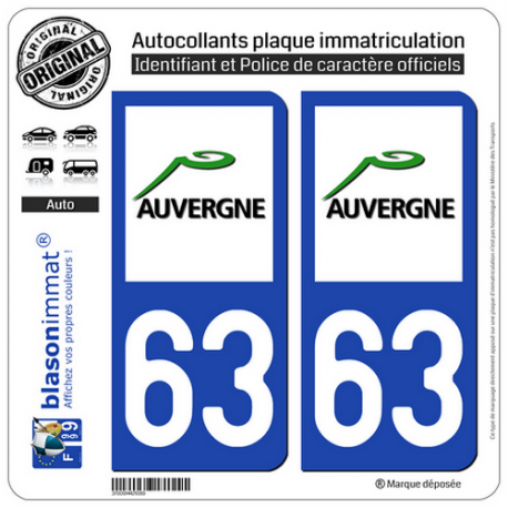 2 Autocollants plaque immatriculation Auto 63 Auvergne - LogoType