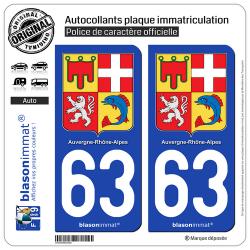 2 Autocollants plaque immatriculation Auto 63 Auvergne-Rhône-Alpes - Armoiries
