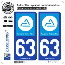 2 Autocollants plaque immatriculation Auto 63 Auvergne-Rhône-Alpes - Région