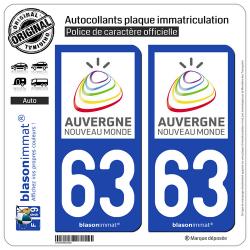 2 Autocollants plaque immatriculation Auto 63 Auvergne - Tourisme