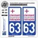 2 Autocollants plaque immatriculation Auto 63 Clermont-Ferrand - Agglo