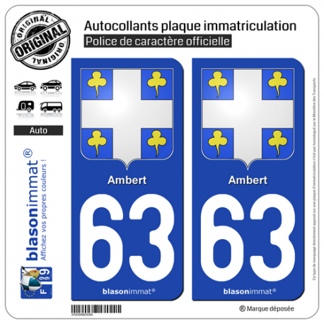 2 Autocollants plaque immatriculation Auto 63 Ambert - Armoiries