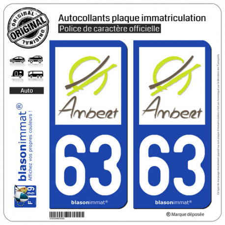2 Autocollants plaque immatriculation Auto 63 Ambert - Ville