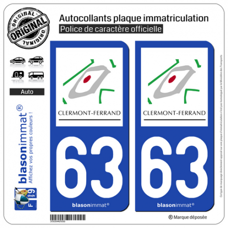 2 Autocollants plaque immatriculation Auto 63 Clermont-Ferrand - Tourisme