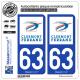 2 Autocollants plaque immatriculation Auto 63 Clermont-Ferrand - Ville