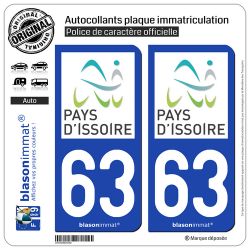 2 Autocollants plaque immatriculation Auto 63 Issoire - Agglo