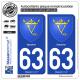 2 Autocollants plaque immatriculation Auto 63 Issoire - Armoiries