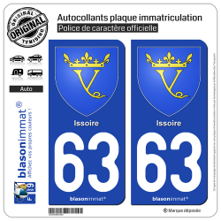 2 Autocollants plaque immatriculation Auto 63 Issoire - Armoiries
