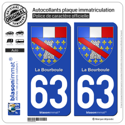2 Autocollants plaque immatriculation Auto 63 La Bourboule - Armoiries