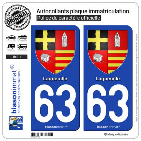 2 Autocollants plaque immatriculation Auto 63 Laqueuille - Armoiries