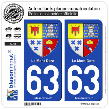 2 Autocollants plaque immatriculation Auto 63 Le Mont-Dore - Armoiries