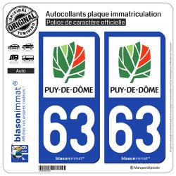 2 Autocollants plaque immatriculation Auto 63 Puy-de-Dôme - Département