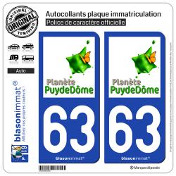 2 Autocollants plaque immatriculation Auto 63 Puy-de-Dôme - Tourisme