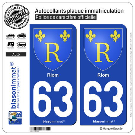 2 Autocollants plaque immatriculation Auto 63 Riom - Armoiries