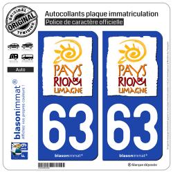 2 Autocollants plaque immatriculation Auto 63 Riom - Tourisme