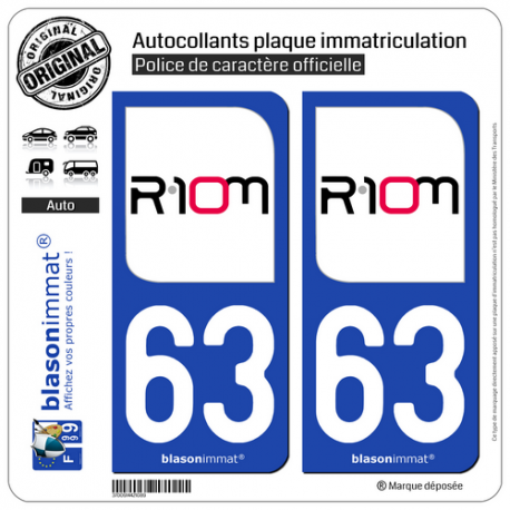 2 Autocollants plaque immatriculation Auto 63 Riom - Ville