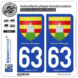 2 Autocollants plaque immatriculation Auto 63 Rochefort-Montagne - Armoiries